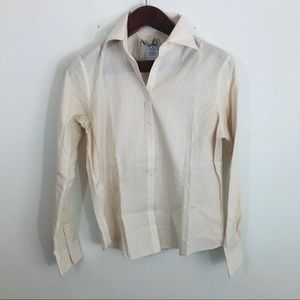 Brooks Brothers Tan Striped Non-iron Blouse Top 10